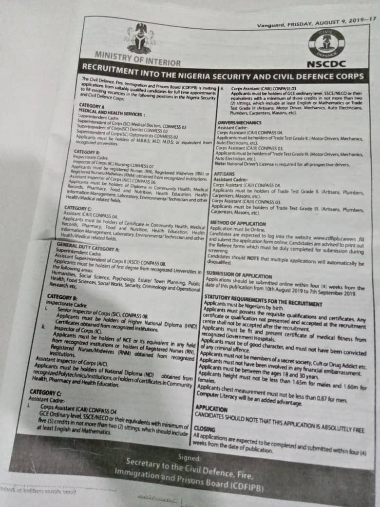 NSCDC Recruitment 2019: How To Apply For Nigeria Civil Defence Corps