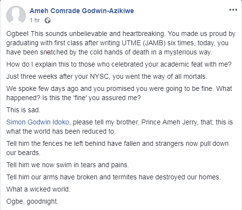 NYSC Who Graduated With First Class After Writing JAMB Six Times Dies