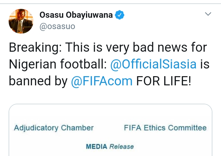 Samson Siasia Banned For Life By FIFA