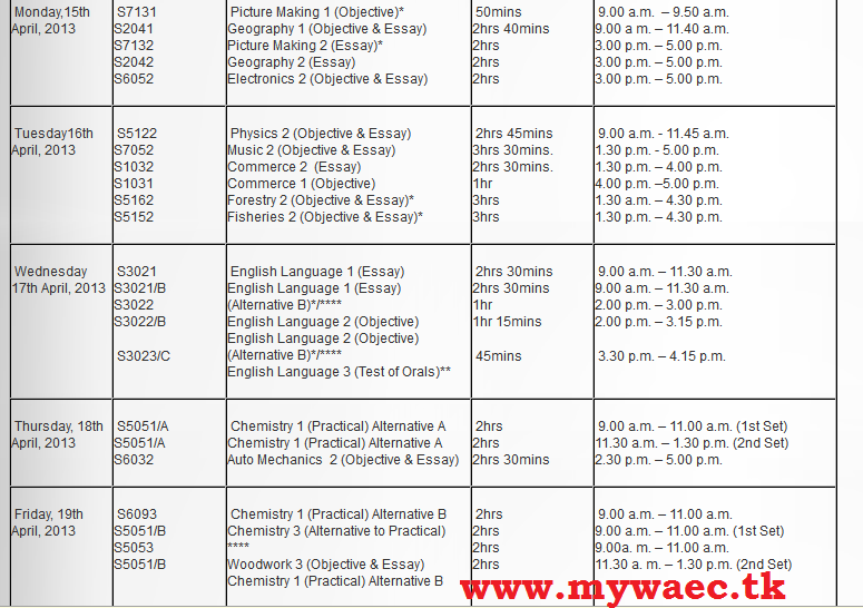 Re: WAEC 2013 May/June Examination Timetable. by Odunnu : 9:22pm On