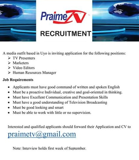 praime tv recruitment - jobs  vacancies