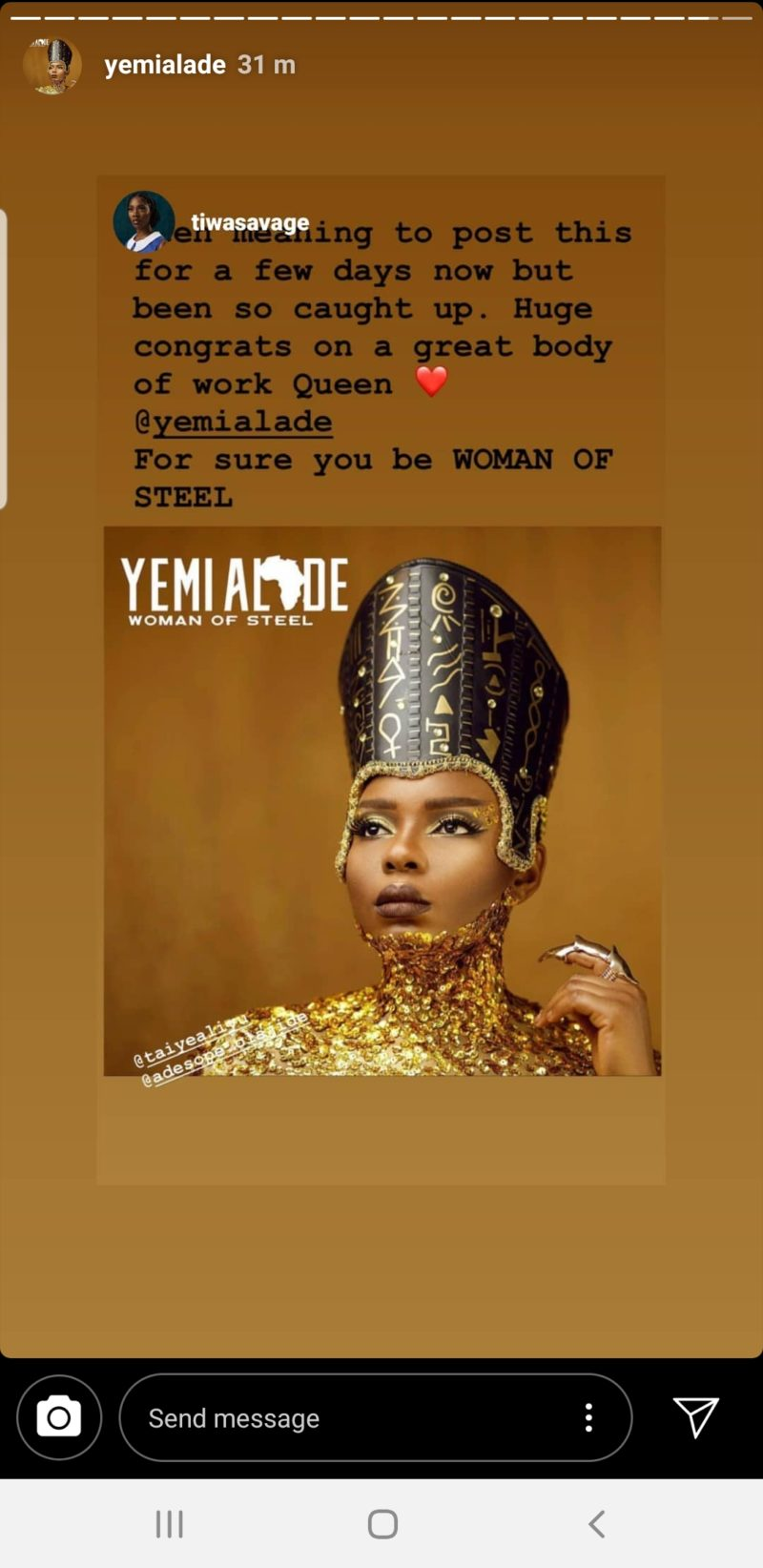 Tiwa Savage finally ends her beef with Yemi Alade, Posts Yemi Alade's 'Woman Of Steel' Album Cover Art