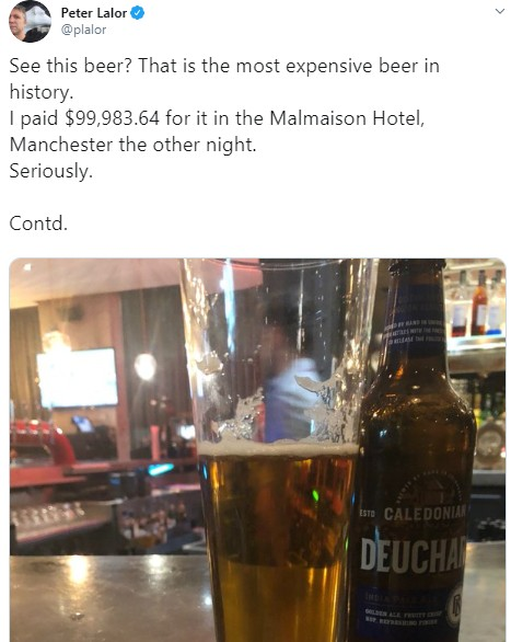 Man Baffled After He Was Charged $100,000 For Just One Beer