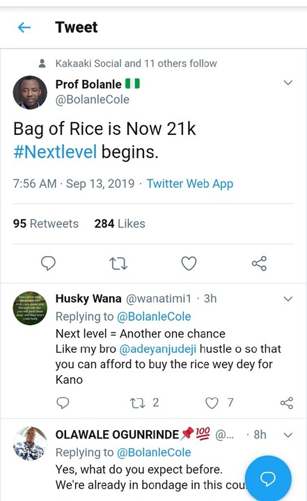 Bag Of Rice Is Now 21k #Nextlevel Begins - See Twitter reactions