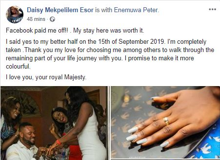 """""""Facebook Paid Me Off""""- Lady Engaged By Her Facebook Lover"""