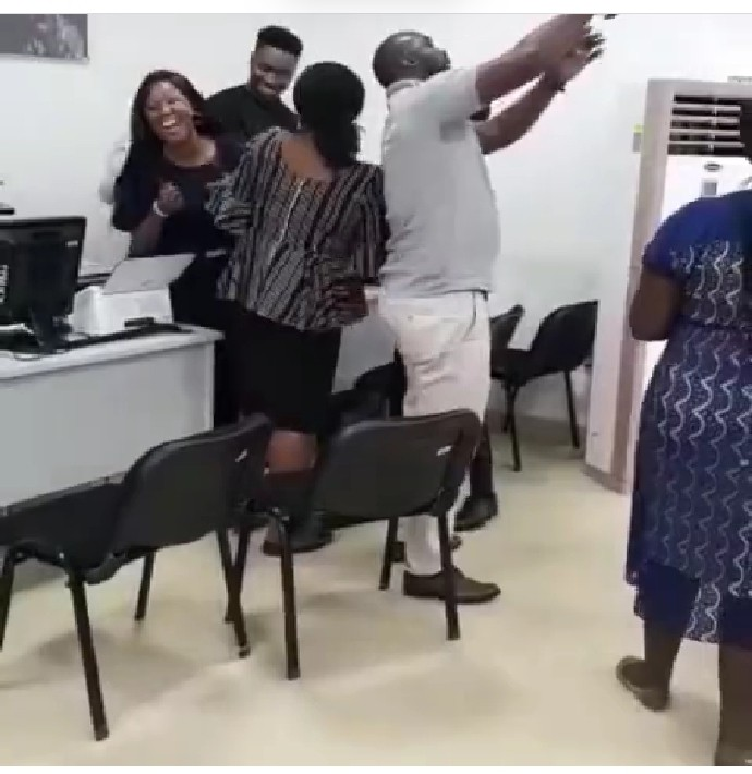 Co-workers Excited As Sir Dee Visits His Banking Office After BBNaija Eviction