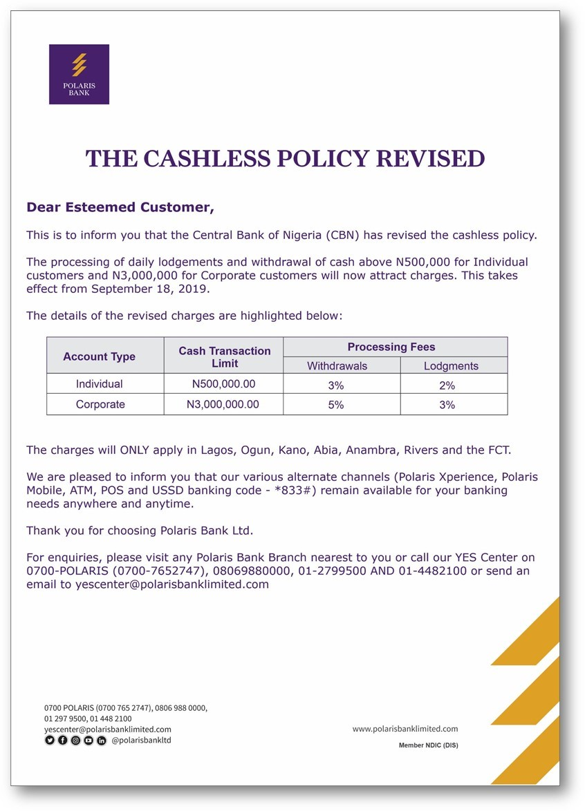 See Polaris Bank's Notice Of Cashless Policy Implementation