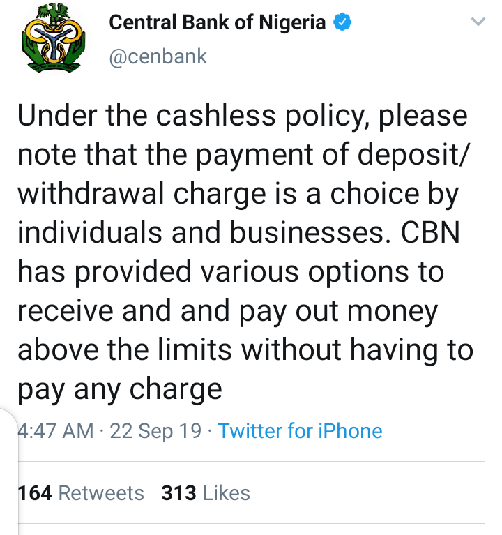 Payment Of New Deposit/Withdrawal Charges Optional - CBN