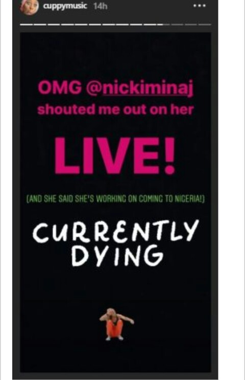 Cool update: Nicki Minaj Gives DJ Cuppy A Shout Out (See Photos) 2