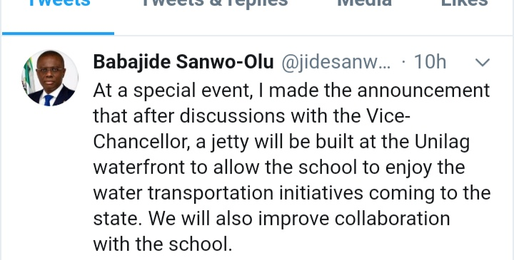 Lagos State Government To Build A Jetty At UNILAG Waterfront