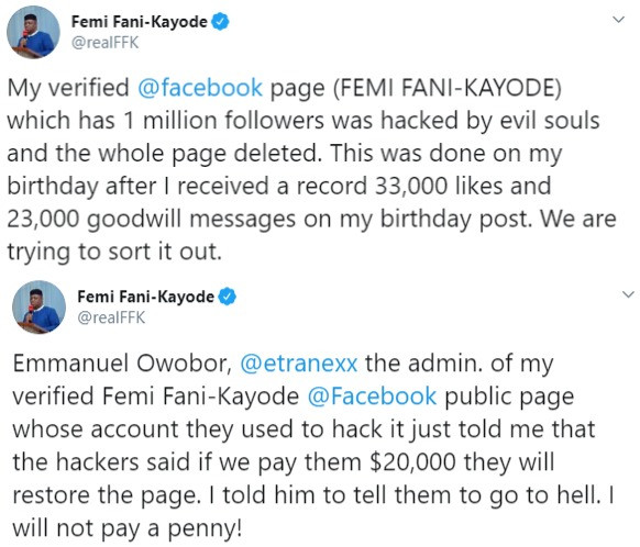 Fani Kayode Facebook Page Hacked, Hackers Demand $20k To Restore Page
