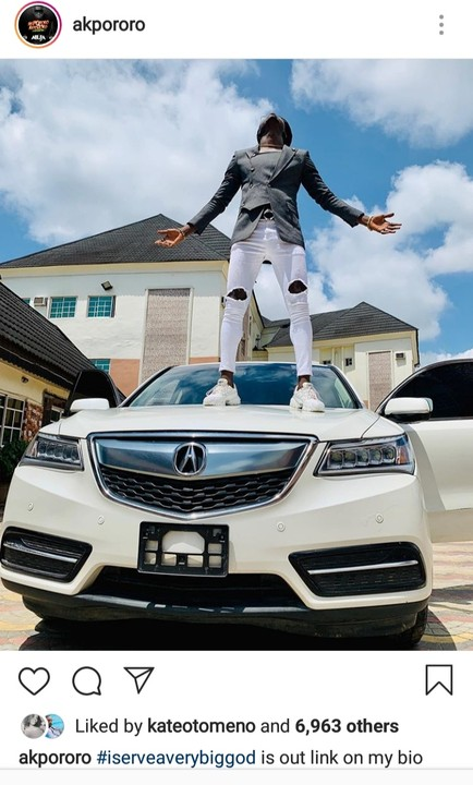 'I Serve A Very Big God': Akpororo Buys A New Car, Stands On It