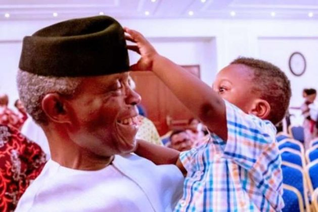 Osinbajo Playing With Kid Who Fiddles With His Cap (Photos)