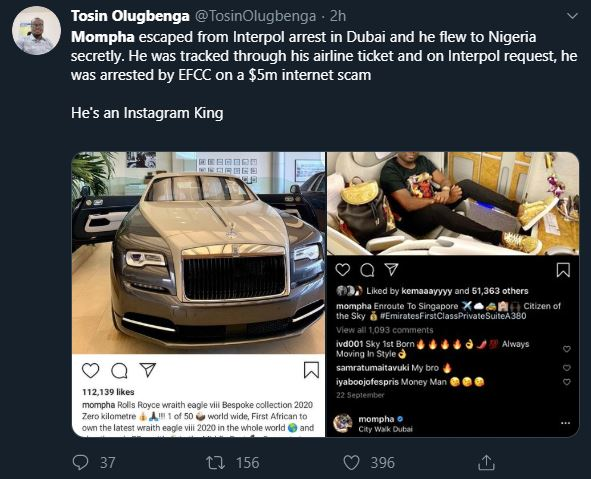 Nigerians React As Mompha Gets Arrested By Interpol