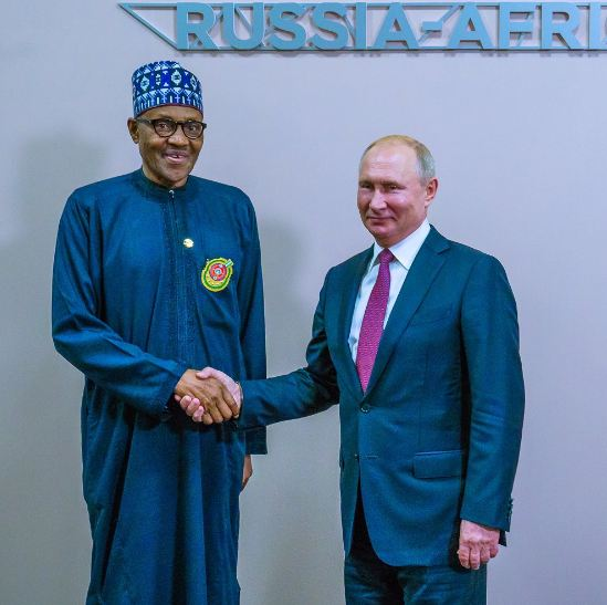 Pres. Buhari Holds Bilateral Meeting With Russia President, Putin [Photo]