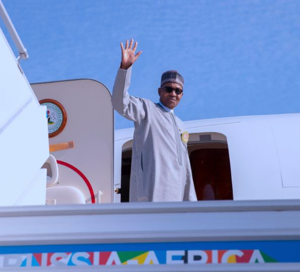 Pres. Buhari Departs Russia For Abuja, Buhari in russia, governor with buhari in russia, Buhari departs Abuja for Russia, Buhari departs Nigeria for Russia, Buhari departs Abuja for Sochi, participates in Russia, Buhari departs Abuja for Sochi, participates in Russia-Africa, Buhari leaves Abuja for Russia-Africa Summit, to meet Putin, Russia-Africa Summit: Things you need to know, President Buhari departs Abuja for Sochi to attend Russia, Buhari Departs Abuja For Russia Ahead Of Russia