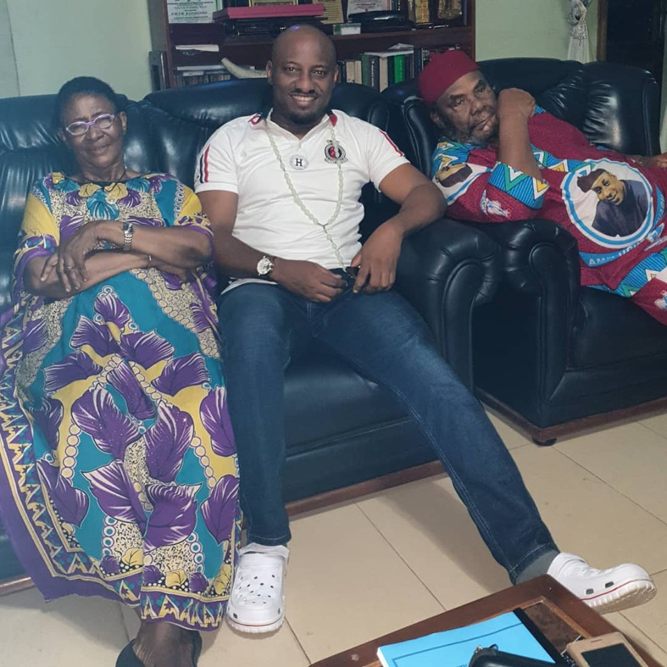 Pete Edochie And Wife Relax With Yul Edochie As He Visits Them (Photo)