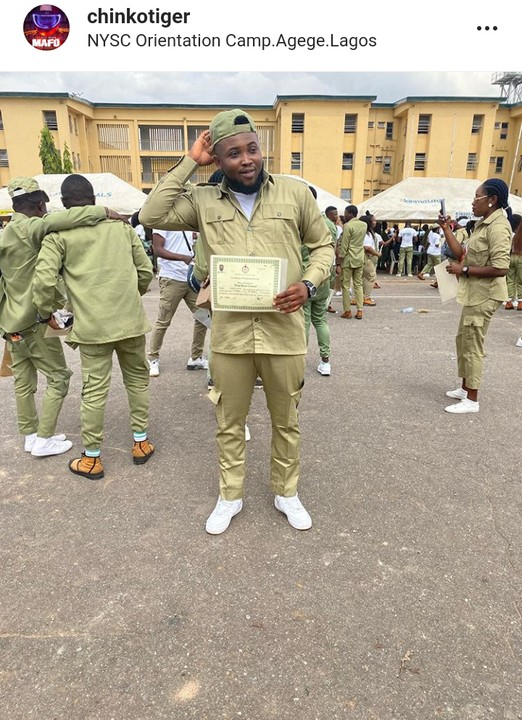 Rapper Chinko Ekun Shows Off His NYSC Certificate After Completion