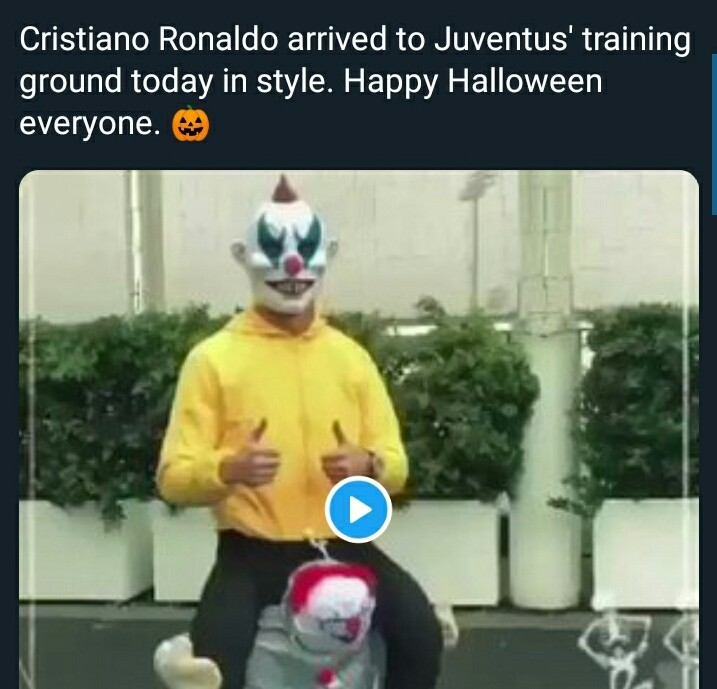 Cristiano Ronaldo Becomes Joker, Arrives Training In Halloween Costume