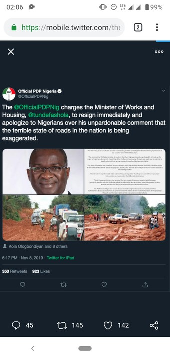 PDP Used Photos Of Bad Roads In Liberia To Tackle Fashola