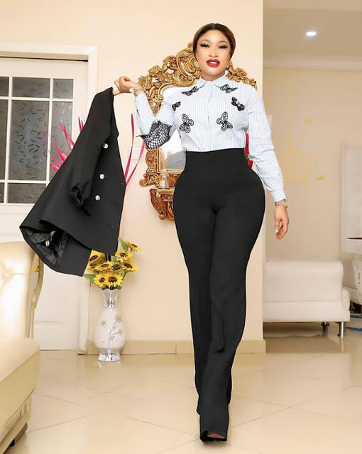 Tonto Dikeh Looks Gorgeous As She Slays' In Boss Suit Themed Photos