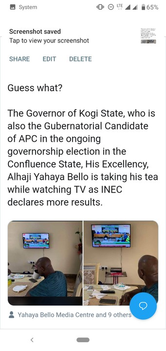 Lolz see moment Yahya Bello was pictured drinking tea with while watching the collation of results