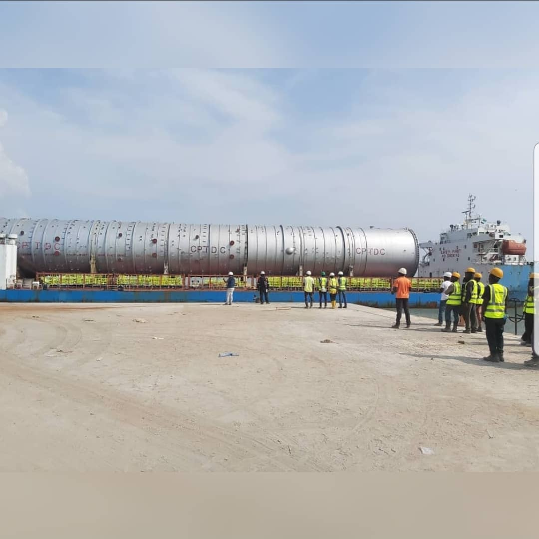 Image result for atmospheric tower arrives dangote refinery images""