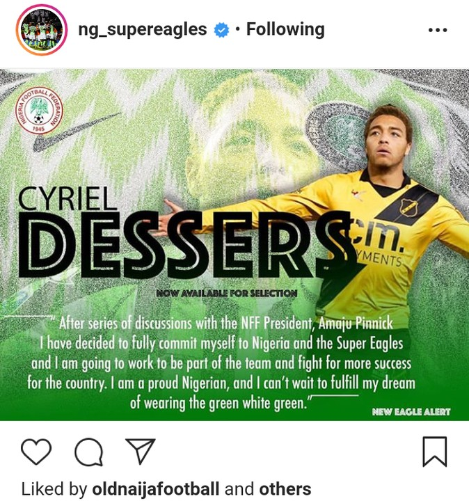 Dessers Commits To Super Eagles