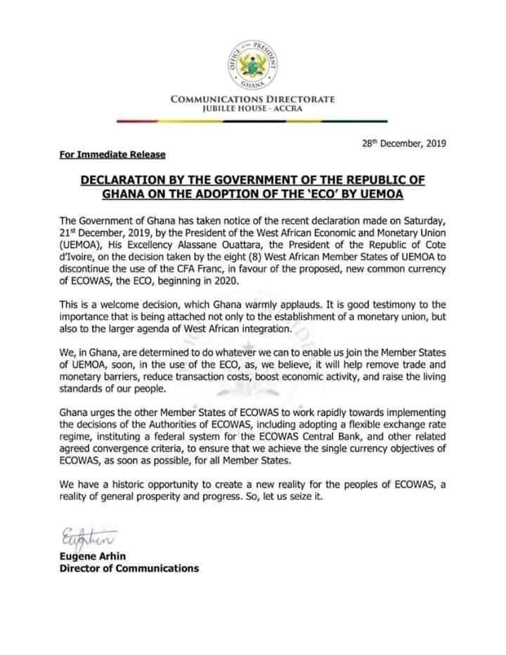 ECOWAS New Currency: Look at Federal Government response that lacks class