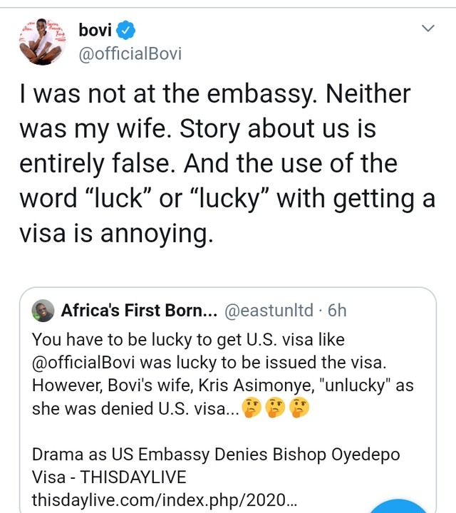 Bishop Oyedepo: Bovi Denies Being At US Embassy With Wife