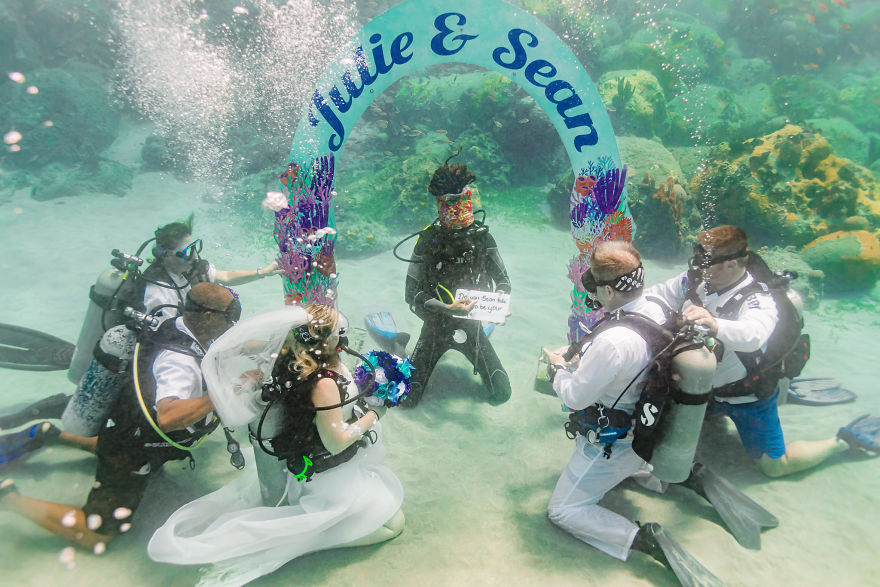 Couple Got Married 32ft Underwater In The Caribbean Sea (Photos)