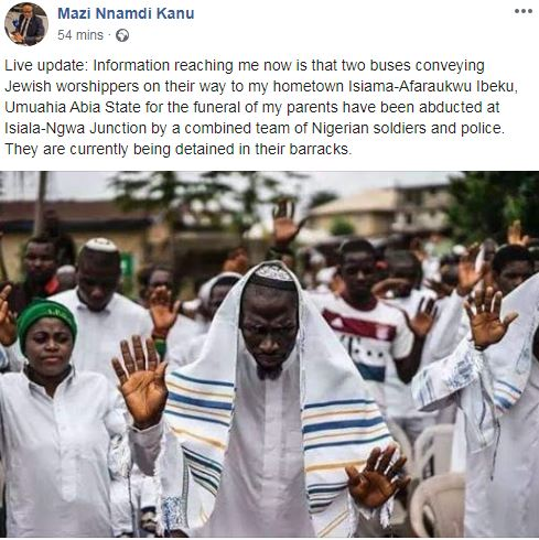 Jewish Worshippers Attending Nnamdi Kanu's Parents' Burial Detained By Soldiers