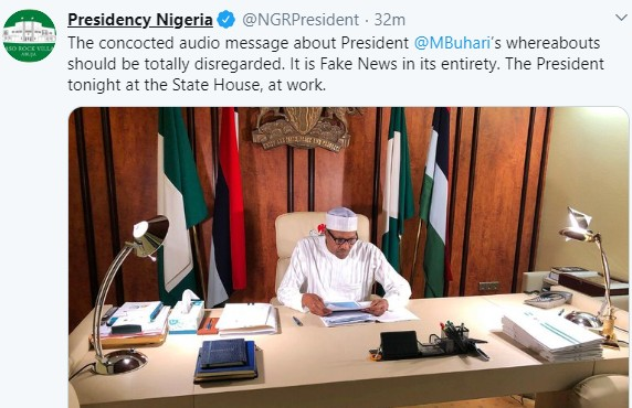 Photo Of President Buhari In His Office Shared By The Presidency