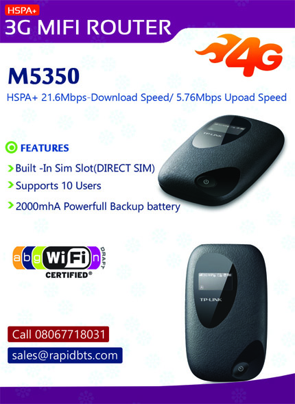 3G Huawei Sim Router/mifi Available - HSPA+ Call 08067718031
