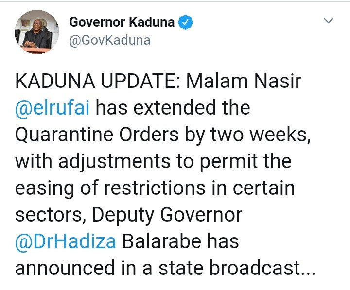 Governor El-Rufai Extends Lockdown By Two Weeks