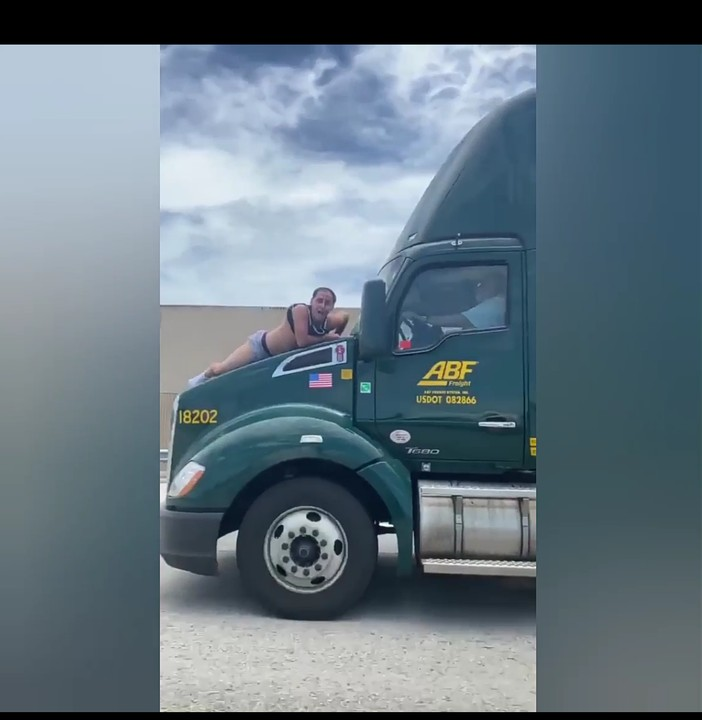 Man Nearly Dies After Jumping Onto Hood Of Trailer, Beats Windshield For Miles