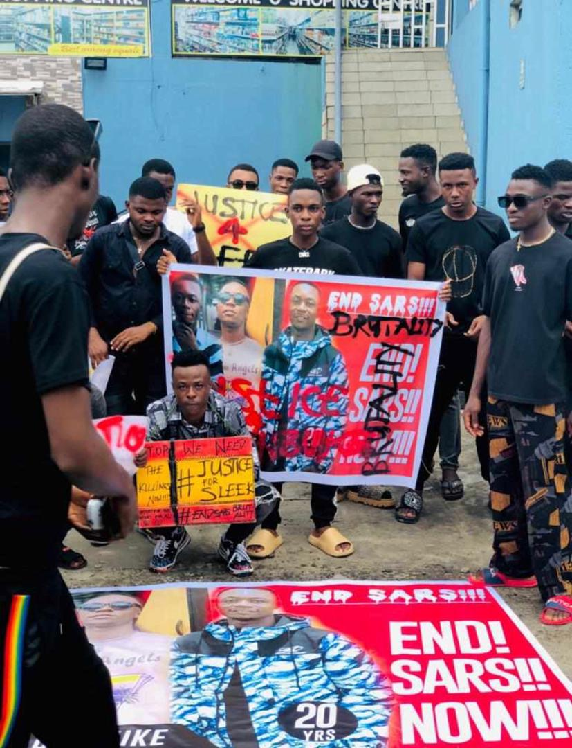 Protest In Port Harcourt Over the Killing Of Sleek, A Musician By SARS
