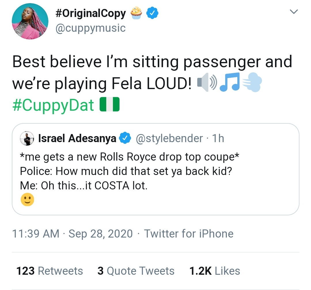 Cuppy - DJ Cuppy Offers To Ride With Israel Adesanya In His New Rolls Royce 12418403_img20200928123141_jpege1102f031f2d25a582a2a64d1c7d9165