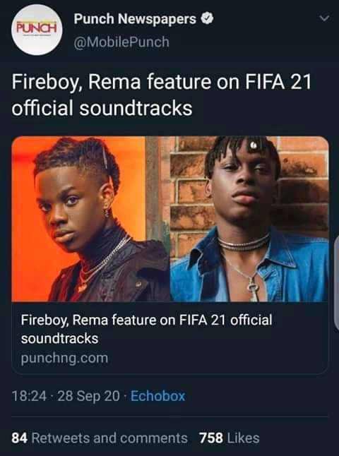 Rema, Fireboy, Burna Boy Features On FIFA 21 Soundtrack 12421588_fbimg16013244842431077_jpeg53360b304077477bd61d562febed1b2f