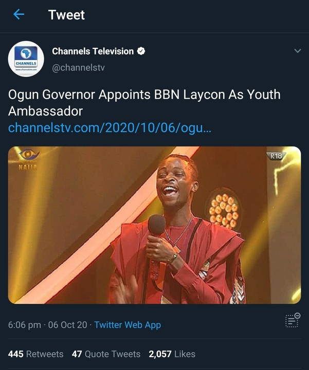 Ogun State Governor Appoints Laycon As Youth Ambassador, Gives Him Bungalow & N5m 1