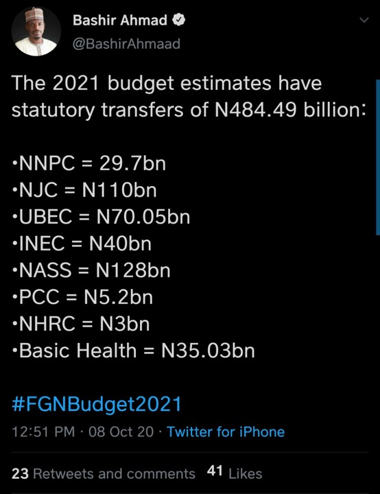 The 2021 Budget Estimates For Statutory Transfers Released By FG 1