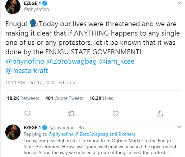 #EndSARS: Phyno alleges to Lives threat by Enugu Government