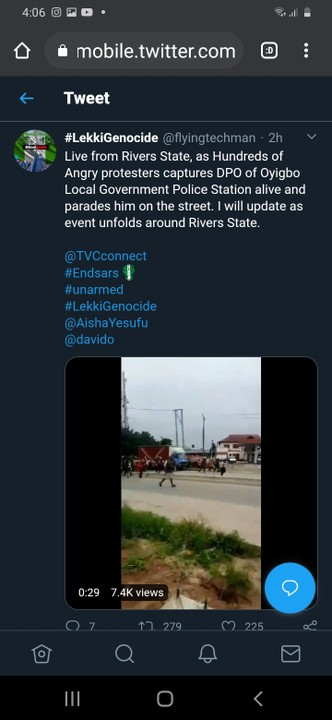 DPO Of Oyibo Police Station Rivers State Captured By Protesters 1