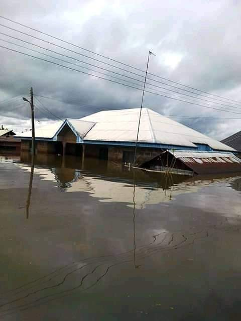 Photos Of Flood Taking Over Houses And Roads In Ahoada, Rivers State.   Engenni, Ahoada West LGA of Rivers State is being ravaged by flood