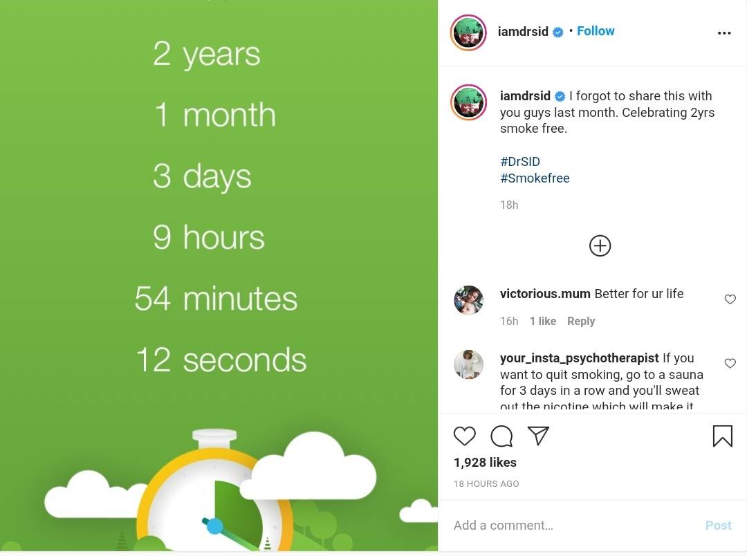Dr Sid Celebrates Not Smoking For 2 Years 2