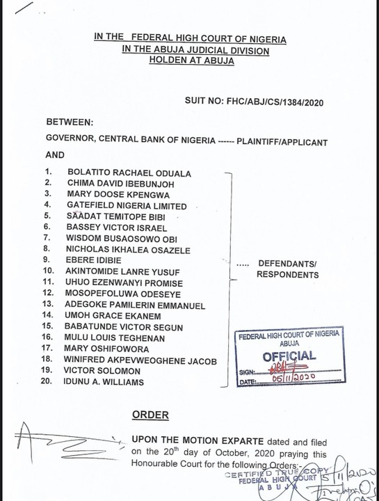 List Of Endsars Promoters Whose Accounts Were Blocked By CBN