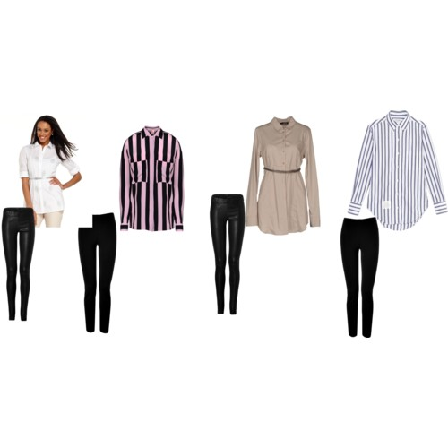 Shirt With Leggings You Need To Put On A Belt Around It Give Defined Silhouette And Can Wear This Combo Any Flat Shoes Or Pump Heels