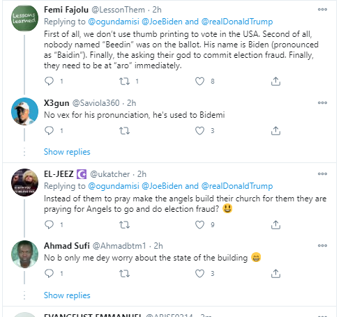 See the Video of Nigerian Christians praying for Joe Biden's votes to be reversed in Donald Trump's favour
