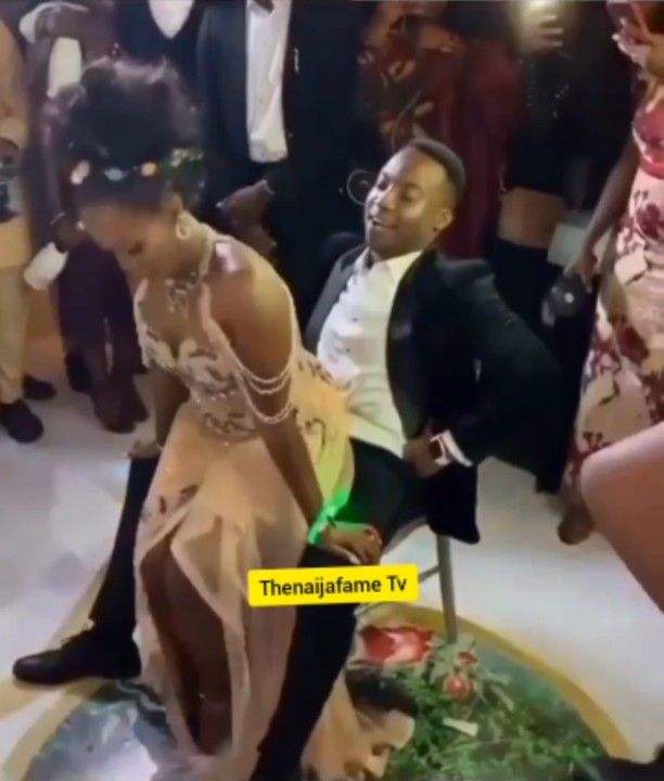 In the viral video, we see the bride whining for the groom, with the young man laughing and smiling throughout the nuptial dance session of the newly wedded couple.