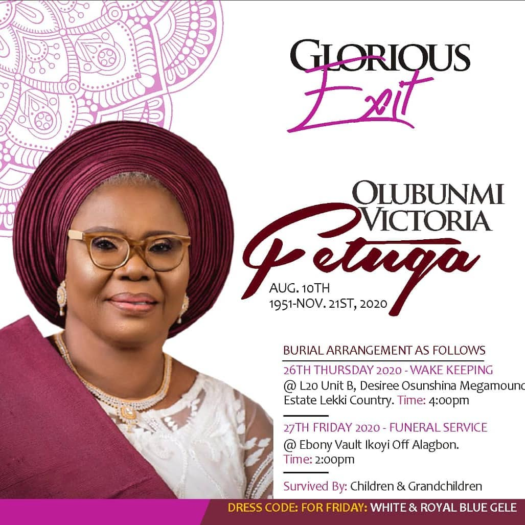 Victoria Fetuga Obituary: Iyabo Ojo Announces Mother's Burial Arrangements 12749835_iyaboojofespris202011270001_jpegde21f12f7b2ab69e3afa291c8b09caea
